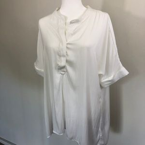 Ellen Tracy White Popover Blouse Hi Low Hem
